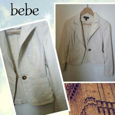 Reduced✂️$59✨BEBE Ivory blazer Beautiful BEBE Ivory blazer. Size 6 fit small to medium. 98% cotton,2% polyurethane. In Good condition except a little pull strings at underarm area on the right sleeve. (No hole) Shown as picture#2. Perfect blazer for all seasons. bebe Jackets & Coats Blazers