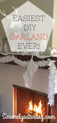 The easiest DIY garland ever. Need a garland or swag? Short on money? This simple and economical craft will help you transform your decor in no time. Whether it's for your mantel, doorway, window frame or archway this garland can be made for less than $5.00. Check out the super easy video tutorial on sincerelysaturday.com. #DOY #garland #decor #affordable #easy #holiday #white #wedding