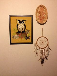 Wise One Vintage 70s owl needlepoint picture by Desertmoonrisevtg