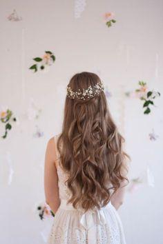 Blossom and pearl headpiece, babies breath headpiece, bridal halo, flower crown, flower hair vine, gypsophila crown, pearl halo, hair flower by AnnaMarguerite on Etsy https://www.etsy.com/listing/226500748/blossom-and-pearl-headpiece-babies