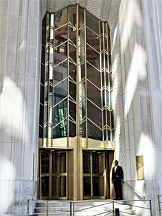 Art Deco entrance to the headquarters of the Bank of New York Mellon Corporation, 1 Wall Street, New York City. August 14, 2014.