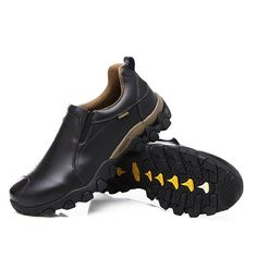 e0a765b97788 Men Genuine Leather Wearable Resistant Breathable Outdoor Soft Casual Shoes