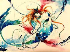 Mermaid watercolor tatoo