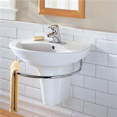wall mount sink for bathrooms | Wall Hung Sink for Small Bathroom is a Smart Choice Uniquely Fit Sinks ... Small Bathroom Sinks, Wall Mounted Bathroom Sinks, Ideal Bathrooms, Small Sink, Bathroom Storage, Modern Bathroom, Master Bathroom, Bathroom Ideas, Compact Bathroom