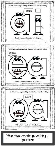 """Vowels Go Walking Posters Vowel activities: FREE """"When Two Vowels Go Walking"""" anchor-chart posters.Vowel activities: FREE """"When Two Vowels Go Walking"""" anchor-chart posters. Vowel Activities, Reading Activities, Reading Skills, Alphabet Activities, Reading Practice, Work Activities, Physical Activities, First Grade Phonics, First Grade Reading"""