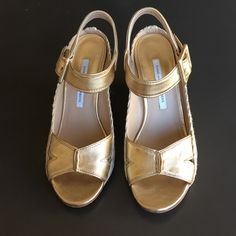 DVF metallic gold wedge espadrilles EUC. Worn only a couple of times. Diane von Furstenberg Shoes Sandals