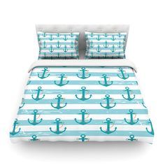 """afe images """"Nautical Anchor Pattern"""" Teal Blue Illustration Featherweight Duvet Cover from KESS InHouse Anchor Room, Anchor Bedding, Botanical Bedroom, Anchor Pattern, Nautical Anchor, Nautical Theme, Luxury Bedding Sets, Cool Beds, Trendy Bedroom"""