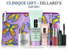 Fall Clinique Bonus at Dillard's - a free 7-pc gift with any $35 Clinique purchase. Spend $75+ and also receive a new moisturizing routine. Dillards, Cosmetic Bag, Free Gifts, Eyeshadow, Cosmetics, Routine, Fall, Smooth Face
