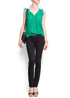 Slim-leg five pockets jeans $25