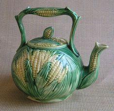 Antique Majolica Pottery Teapot | Majolica Teapot, Corn Pattern from misslilys on Ruby Lane