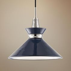 The Kiki pendant light from Mitzi collection is a small single light fixture with a navy shade and polished nickel finish hardware. wide x 13 high. Canopy is 4 wide. Style # at Lamps Plus. Blue Pendant Light, Small Pendant Lights, Modern Pendant Light, Pendant Chandelier, Pendant Lighting, Blue Glass Lamp, Contemporary Chandelier, Light Decorations, Kitchens