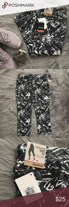 Reebok Tight Fitted Printed Capri Black and white printed capris by Reebok. Brand new with tags.   -Please keep in mind that due to the lighting, colors may vary  -I am always open to negotiation on price!  Please send in all offers using the offer button!  🚫No trades 🚫No other apps Reebok Pants Capris