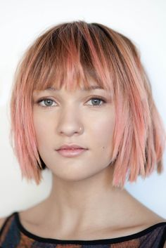 Pink Peach Rose Gold Messy Bob with Fringe |