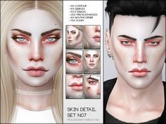 Includes Contour, Dimples, Eyebags, Freckles+Moles, Mouthcorner and Scars. Adapts to all skintones, for all ages and genders. Found in TSR Category 'Sims 4 Makeup sets'