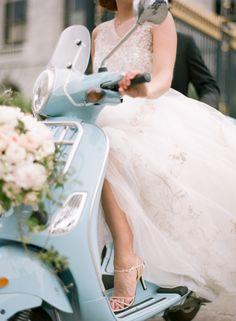 Vespa Bride Vespa Wedding, Motorcycle Wedding, Wedding Attire, Bride Portrait, Wedding Portraits, Wedding Photos, Photoshoot Inspiration, Wedding Inspiration, Wedding Ideas