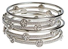 Audrey's Collection Silver Tone 9 Stack Sparkly Women Bangle Bracelets Plus Size 3 Inches in Diameter. EXQUISITE HIGH QUALITY SILVER TONE 9 STACK Shiny Bangle Bracelet to wear and sparkle any room you walk into. PLUS SIZE 3 INCH IN DIAMETER. Perfect gift. One of our most popular Bangle style Bracelets. EXTREMELY ELEGANT, stunning and eye catching. SWAROVSKY ELEMENTS is the world's leading brand for the finest crystal components manufactured by Swarovsky. The science of the cut and the…