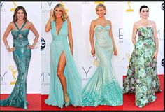 From left, Sofia Vergara in Zuhair Murad; Heidi Klum is in Alexandre Vauthier; Julianne Hough is wearing Georges Hobeika Couture; and Julianna Margulies is in Giambattista Valli Couture.  Credit: From left: Kevork Djansezian/Getty Images; Mario Anzuoni/Reuters (2); Kevork Djansezian/Getty Images via NYTimes.com #Emmys