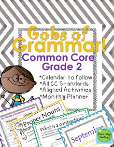 Trying to figure out when to fit grammar in and what to teach?! Grammar packet for grade 2 - common core aligned including calendar to follow with activities aligned to each standard, and monthly cover sheets to help you organize your lessons 2nd Grade Grammar, 2nd Grade Ela, 2nd Grade Reading, Grade 2, Second Grade, Common Core Ela, Common Core Reading, Grammar Lessons, Grammar Skills