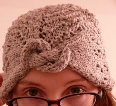 Free Knitting Pattern for Gull Lace Turban Hat - The February Lady Turban style hat by moon_custafer is knit sideways and features a gull lace stitc