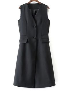 V Neck Two Buttons Long Waistcoat - BLACK S