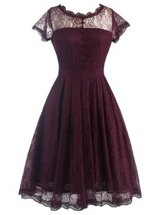 Retro Lace V Back Burgundy Dress