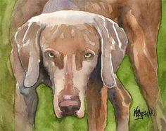 Weimaraner Art Print of Original Watercolor by dogartstudio