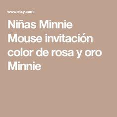 Niñas Minnie Mouse invitación  color de rosa y oro Minnie