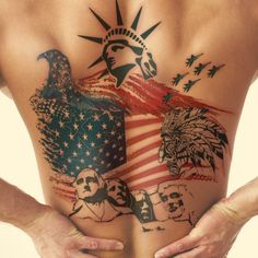 Magnificent American Flag Tattoo with American Elements