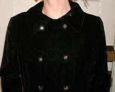 Vintage 1950s Black Velvet Rhinestone Buttons Coat M L by Flashbax, $149.00