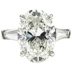 GIA Certified 5.01 Carat Oval Cut Diamond Classic Platinum Engagement Ring 1