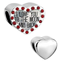 From 4.99:Heart I Love You To The Moon And Back Red Birthstone Charms Sale Cheap Beads Fit Pandora Chamilia Bracelet