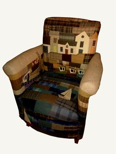 Choose a scene for your chair fabric Applique and patchwork chair by