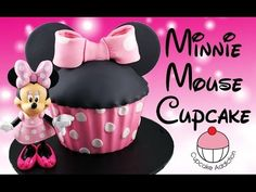 Minnie Mouse Cake! How to Make a Giant Minnie Mouse Cupcake- Learn how to make these delicious treats, and heaps more at Mycupcakeaddiction!