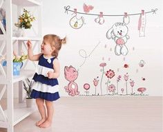 Kids Rooms Home Decor Teddy Bear Umbrella / Cat Rabbit Flower Wall Decals