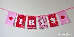 Vlaggenlijn met vilten letters #roze #rood #meisje #lief
