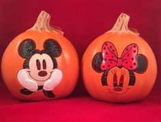 disney mickey minnie mouse halloween light up pumpkins lantern luminary set 2