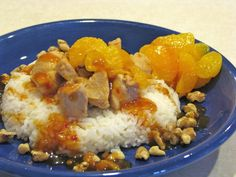 Orange Walnut Chicken Over Jasmine Rice. This is an easy to prepare, wonderful dish that can be made in your slow cooker, oven, or on the stovetop. I like to serve this recipe over Jasmine rice, with mandarin oranges topped with toasted walnuts. On the side I serve a spicy orange sauce that I buy at my local grocery store.