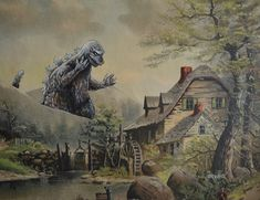 Artist Adds Pop Culture Figures to Thrift Store Paintings | Mental Floss