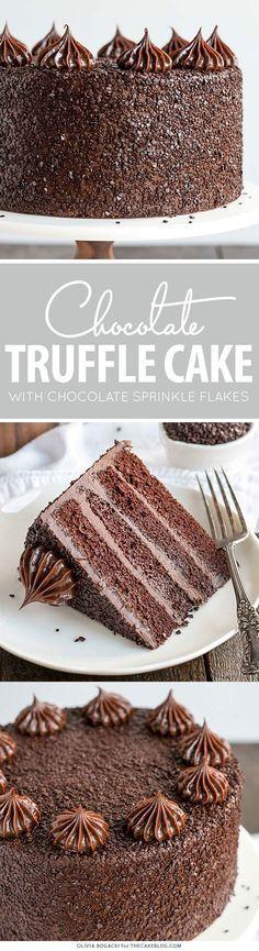 Chocolate Truffle Cake - a chocolate layer cake recipe with dense, moist chocolate cake, silky chocolate truffle frosting and chocolate flakes | by Olivia Bogacki for http://TheCakeBlog.com