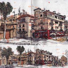 Joan Ramon Farre Burzuri (@joan_ramon_farre_burzuri) в Instagram: «. . SANT CARLES DE LA RÀPITA. PLAÇA D'ESPANYA. At last finished! . . #usk #uskcatalunya #sketching #sketching #sketch #paint #painting #art #travel #architecture #watercolot #watercolour #urban #sketchers