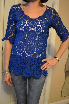 Deep Ocean Custom Made Cotton Size Hand Crocheted Shirt - Sizes 0 to 20