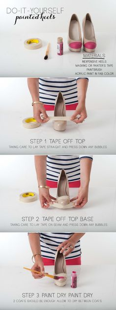 DIY Painted Heels - I hate wearing heels, so I'm going to try this with just plain old shoes!