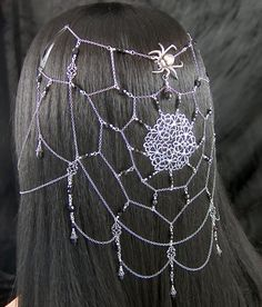 Queen Arachna - Spider Web Gothic Black Renaissance Circlet/Headpiece/Earrings by amonicreations Fantasy Jewelry, Gothic Jewelry, Gothic Earrings, Black Jewelry, Antique Jewellery, Hair Jewelry, Body Jewelry, Wedding Jewelry, Diy Accessoires