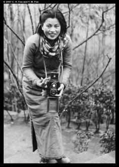 Min Chin with a camera, Northern Hot Springs, February 1940, from the Fu collection featured by Visualising China