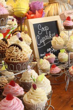 Cute display of soap cupcakes
