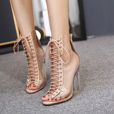 New Summer Sandals Sexy PVC Transparent Gladiator Sandals Cross Strappy Peep Toe Shoes Clear Chunky heels Women Ankle boots Clear Ankle Boots, Lace Up Ankle Boots, High Heel Boots, Heeled Boots, Shoe Boots, High Heels, Chunky Sandals, Heeled Sandals, Shopping
