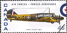 Canadian Postal Archives Database    Postal Administration: Canada     Title: Avro Anson MK.I     Denomination: 46¢     Date of Issue: 4 September 1999
