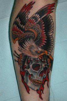 Znalezione obrazy dla zapytania eagle on skull tattoo