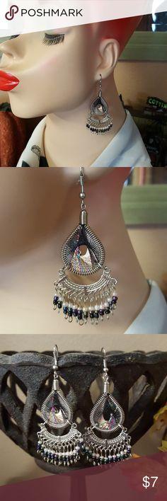 Peruvian Silk Thread Beaded Dangle Earrings Stainless Steel Peruvian Silk Thread Beaded Dangle Earrings Vintage Jewelry Earrings