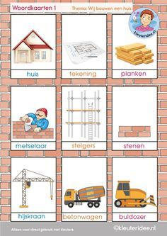 Woordkaarten 1 van de 4, thema 'wij bouwen een huis', kleuteridee, free printable 3 Year Old Activities, Community Activities, Toddler Activities, Learn Dutch, Dutch Language, Family Theme, Bob The Builder, Construction Tools, Preschool Education